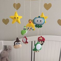 Felt Super Mario and Princess Peach Theme Baby Mobile Super Mario, Winnie The Pooh, Mario And Princess Peach, Felt Baby, Mickey Mouse, Handmade Felt, Trendy Baby, Craft Gifts, Baby Quilts