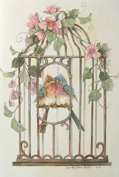 Carolyn Shores Wright Blue Bird Couple Cage Pink Flower Blank Note Greeting Card | eBay