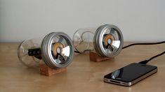 """DIY Mason Jar Speakers!   Design student Sarah Pease created this """"audioJar"""" based on MIT's David Mellis's Fab Speakers."""
