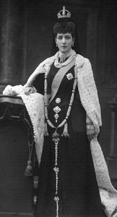 Queen Alexandra in State robes, four months after the dead of Queen Victoria. Her mourning jewellery is of diamonds and pearls. April 1901
