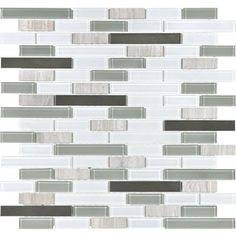 �Coastal Blend Mixed Material Mosaic Wall Tile (Common: 12-in x 12-in; Actual: 12-in x 12.5-in)
