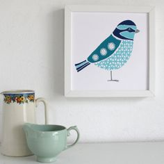 Blue Tit Screen Print by PerisandCorr on Etsy, $40.00