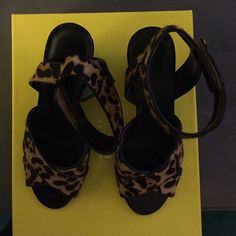 Leopard print calf with a Velcro strap Worn once Franco Sarto Shoes Sandals