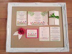 Liberty print inspired wedding invitations