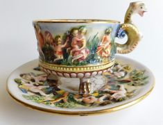 Capodimonte Naked Cupids in High Relief Gold Gilded Tea Cup Saucer Dragon Handle | eBay