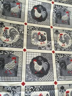 96ebcd9666ef Poulets De provence Grey SPX 100% cotton Rooster fabric Rooster Decor