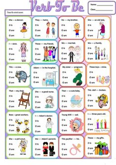 Verb to be worksheet - Free ESL printable workshee. Verb to be worksheet – Free ESL printable worksheets made by teachers English Grammar For Kids, Teaching English Grammar, English Worksheets For Kids, English Lessons For Kids, English Verbs, English Activities, Grammar Lessons, English Vocabulary, Writing Lessons