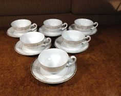 Seyei China Pattern 1030 (White) Gold Trim Footed Demitasse Cup and Saucer