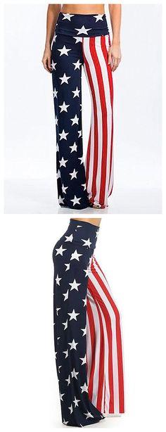 $10.66 High Waist American Flag Print Wide Leg Pants