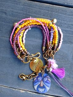 Gypsy Boho Bracelet eight strand bracelet multi by BeadStonenSkin, €45.20