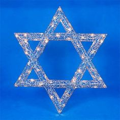 36 Lighted Star of David Hanging Hanukkah Yard Art Decoration