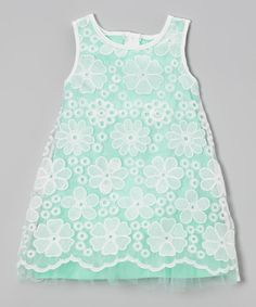 Mint & White Lace Overlay Shift Dress - Toddler & Girls   Daily deals for moms, babies and kids