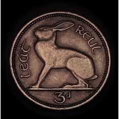 Vintage Irish Celtic Lucky Rabbit Coin 3 pence - The Irish version of a lucky rabbit's foot. No bunny's were harmed in the making of this coin.