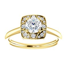 14kt Yellow Gold 5.2mm Center Round Genuine Diamond (Clarity I3, Color G-H) and 16 Halo Diamonds (Clarity I1, Color I-J) Engagement Ring...(ST122353:105:P).! Price: $1129.99