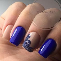 160 Blue Nail Art Ideas for 2018 - Frensh Nails, Prom Nails, Cute Nails, Pretty Nails, Polish Nails, Nails 2018, Classy Nail Designs, Nail Art Designs, Royal Blue Nails Designs