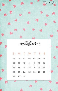 October - Free Calendar Printables 2017 by Nazuk Jain