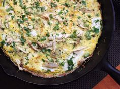 Leftover Turkey Frittata~      8 eggs     Kosher salt and freshly ground black pepper     2 tablespoons olive oil     1 shallot, thinly sliced (about 1/2 cup)     1 jalapeno, deseeded and diced (about 2 tablespoons)     2 cups shredded Brussels sprouts     1 cup green beans, trimmed and cut into 1-inch pieces     3/4 pound roast turkey, shredded (about 2 cups)     ½ cup fresh chopped parsley, for garnish