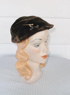 1940s Vintage Brown Velvet Hat with Gold Pin by MyVintageHatShop