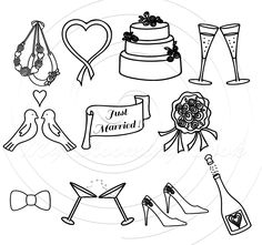 Wedding clipart PNG clip art Instant download commercial use clipart 11 Wedding clip arts, 300 DPI files, PNG files on transparent background. The approximate size is 6-8 inch wide.  * Suitable for small commercial use, crafts and home businesses, you can use it for digital scrapbook, greeting cards, invitations, prints, labels, mixed media crafts.