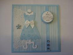 Making a simple elegant card with a doily and my Stampin Up dress die again.