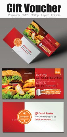 Restaurant Gift Voucher  Cards  Invites Print Templates