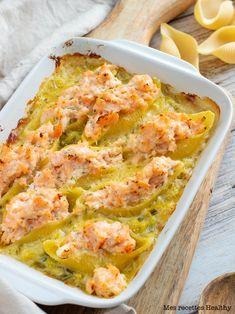 Conchiglioni au saumon et ricotta | Mes recettes Healthy One Pot Pasta, Quiche, Potato Salad, Cauliflower, Menu, Healthy Recipes, Healthy Food, Fish, Vegetables
