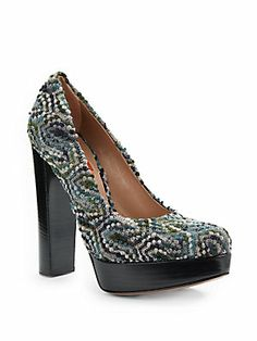 Textured Knit Platform Pumps - can you imagine how great these would look with cropped jeans and a crisp white blouse.