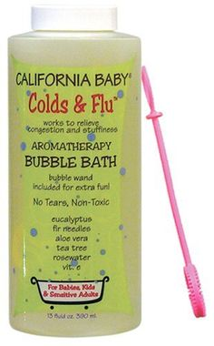California Baby Bubble Bath- Colds & Flu, 13 oz (Eucalyptus ease (for tranquil relief)) by California Baby. $18.48. 13 oz / 390 ml bottle with twist cap. Safe for newborns and older. Use when you feel the sniffles and sneezies coming on! Scented with Douglas fir and eucalyptus. Nothing is worse than the sight (especially at 2:00 a.m.!) of a sick child. We formulate our products to work, and California Baby Colds & Flu Bubble Bath is a lifesaver when your child is...