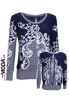 Štýlova bielo-modrá blúzka v kombinácii pásikov a abstraktného vzoru. - trendymoda.sk Blouse, Long Sleeve, Sleeves, Sweaters, Women, Fashion, Moda, Long Dress Patterns, Fashion Styles