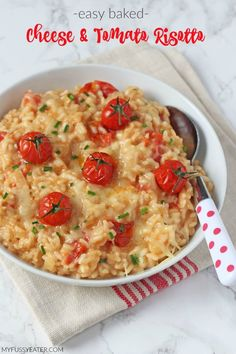 A delicious and kid-friendly Cheese & Tomato Risotto recipe, cooked in the oven to make it super easy! A brilliant family recipe!