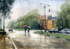 Watercolor painting with rainfall effects. How to paint rain in watercolor.