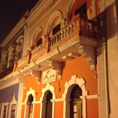 Typical building in Old San Juan, PR. At night romance is in the air!
