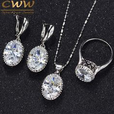 Lucky Deal $7.60, Buy CWWZircons Crown Shape Round Oval Cut CZ Ring Necklace Earrings For Women Fashion 925 Sterling Silver Jewelry Sets T270
