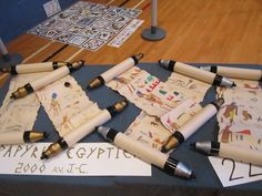 Egyptian Party : invite and activity idea : make your own scrolled papyrus : write with hieroglyphs for fun, or put your invitation on them