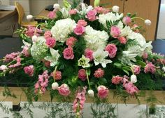 Pink and White Casket Spray with snapdragons, hydrangeas, roses, tulips