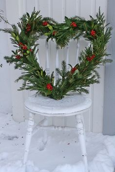 Heart wreath perfect to change your outdoor wreath to after the Holidays for Valentines Day! from All Things Shabby and Beautiful Christmas And New Year, White Christmas, Christmas Holidays, Christmas Wreaths, Christmas Crafts, Christmas Decorations, Xmas, Holiday Decor, Outdoor Christmas