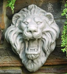 Lion Roaring Face Sculptural Wall Mask Plaque Statue. Easy to hang and makes a wonderful sculptural decorative lion wall hanging display. Statue.com
