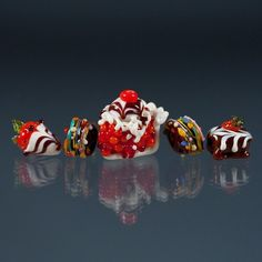 #Glass Lampwork Beads - #Glass Chocolates, #Candy, #Cherry Pie with Ice Cream, #Chocolate dipped Strawberry, #Glass Desserts