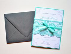 Tiffany Blue Lace Wedding Invitations, Tiffany Blue and Grey Wedding Invitations by Whimsy B. Paperie $6.95