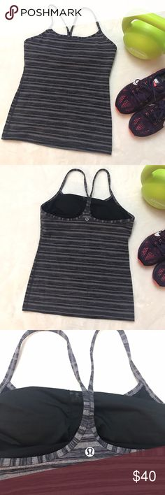 LULULEMON Gray Coal Strata Stripe Power Y Tank Top LULULEMON Gray Coal Strata Stripe Power Y Tank Top size 8, size dot confirmed. Excellent condition! Pads included. lululemon athletica Tops Tank Tops