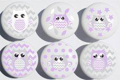 Purple Owl Drawer Pulls / Owl Ceramic Nursery Drawer Knobs, Set of 6 (Purple Owls) Cabinet And Drawer Pulls, Drawer Knobs, Cabinet Knobs, Yellow Drawers, Childrens Dresser, Owl Nursery Decor, Room Decor, Animal Nursery, Owl Artwork