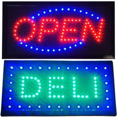 Bright DELI Sandwich SUB Meat Shop LED & Open Business Grocery Store Sign…