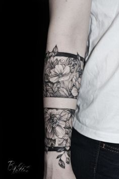 Tattoo Yulya Babich - tattoo's photo In the style Whip Shading, Male, Flowers, Ornamen Hand Tattoos, Forearm Band Tattoos, Tattoo Band, Flower Wrist Tattoos, Time Tattoos, Flower Tattoo Designs, Body Art Tattoos, Sleeve Tattoos, Tattoos For Guys