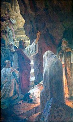 The Resurrection of Lazarus - Artist: Wilhelm Kotarbinski Style: Art Nouveau (Modern) Series: St. Vladimir Cathedral, Kiev Genre: religious painting