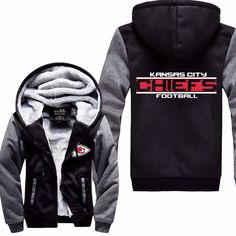 Kansas City Chiefs Fans! Get Your Super Warm Hooded Fleece Jacket & Show Your Support! Soft Fleece Lining For Maximum Comfort & Warmth Fleece Lined Hood To Protect Your Head & Ears From Those Cold Gam
