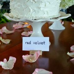 whitcomb/powell wedding cake #5 - southern red velvet cake layered and topped with cream cheese buttercream and cake crumbles
