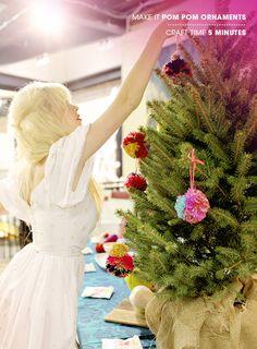 Pom Pom Tree Ornaments via designlovefest
