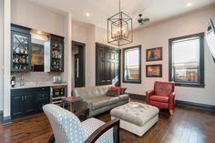 Living room with hardwood and wet bar. 2424 S. Gray Subway Tile Backsplash, Grey Subway Tiles, Floors And More, Townhouse, Hardwood, Gallery Wall, Flooring, Bar, Living Room