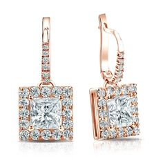 Certified 14k Rose Gold Dangle Studs Halo Princess-Cut Diamond Earrings 3.00 ct. tw. (G-H, VS2)
