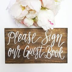 Custom Hand Painted Guest Book Sign   Dimensions: 10x5.5 Self Standing   Lead…